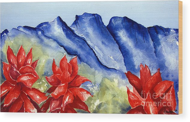 Mountains Wood Print featuring the painting Monterrey Mountains with Red Floral by Kandyce Waltensperger