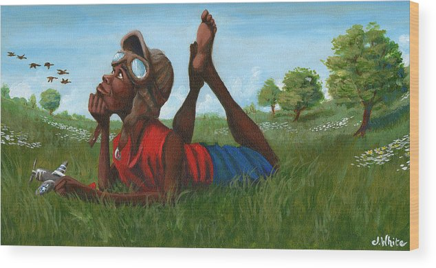 Tuskegee Wood Print featuring the painting Red Tail Dreamer by Jerome White