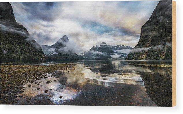 Scenics Wood Print featuring the photograph Sound Asleep | Fiordland, New Zealand by Copyright Lorenzo Montezemolo