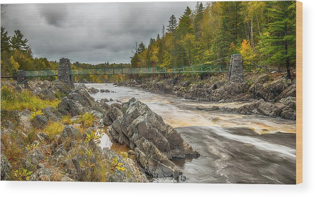 Jay Cooke State Park Swinging Bridge Wood Print featuring the photograph Swinging Bridge by Paul Freidlund