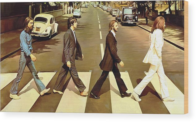 The Beatles Abbey Road Paintings Wood Print featuring the painting The Beatles Abbey Road Artwork by Sheraz A