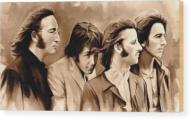 The Beatles Paintings Wood Print featuring the painting The Beatles Artwork 4 by Sheraz A