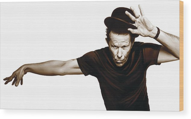 Tom Waits Paintings Wood Print featuring the mixed media Tom Waits Artwork 4 by Sheraz A