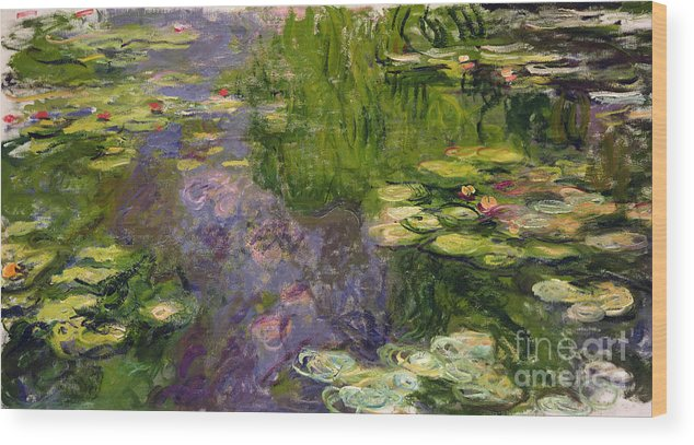 Nympheas; Water; Lily; Waterlily; Impressionist; Green; Purple Wood Print featuring the painting Waterlilies by Claude Monet