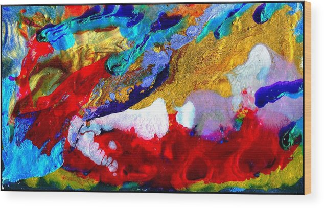 Abstract Wood Print featuring the painting Abstract - Evolution Series 1011 by Dina Sierra