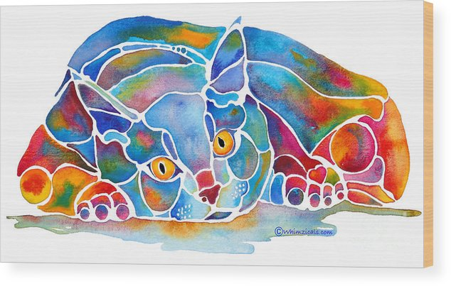 Cat Wood Print featuring the painting Calypso Cat by Jo Lynch