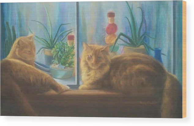 Cats Wood Print featuring the painting Cats in the Window by Diane Caudle