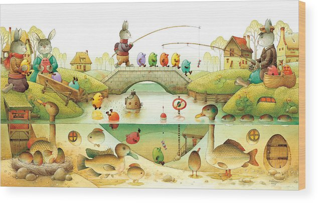 Eggs Easter Rabbit Wood Print featuring the painting Eggstown by Kestutis Kasparavicius