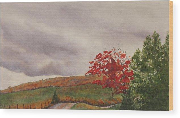 Dark Wood Print featuring the painting October Wind by Debbie Homewood