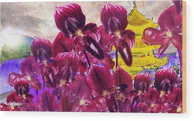 Far East Wood Print featuring the digital art Oriental Orchid Garden by Seth Weaver
