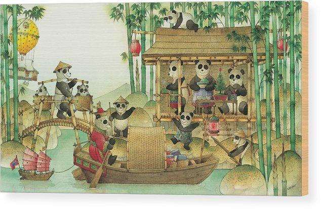 Christmas Greeting Cards Panda China Wood Print featuring the painting Pandabears Christmas 03 by Kestutis Kasparavicius