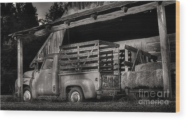 Scotopic Wood Print featuring the photograph Scotopic Vision 5 - The Barn by Pete Hellmann