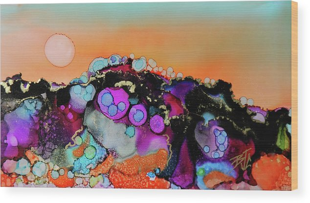 Colorful Landscape Wood Print featuring the painting Setting Sun by Billie Colson