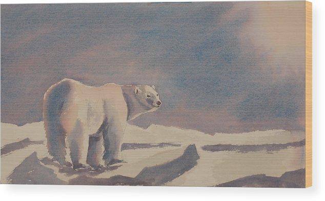 Polar Bear Wood Print featuring the painting Solitary Polar Bear by Debbie Homewood