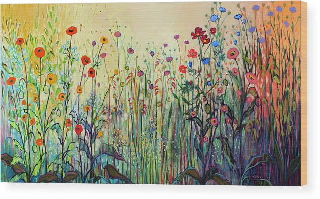 Floral Wood Print featuring the painting Summer Joy by Jennifer Lommers