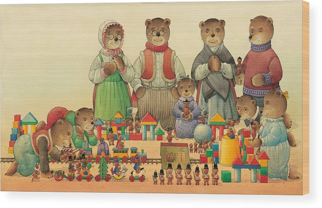 Christmas Greeting Cards Teddybear Wood Print featuring the painting Teddybears and Bears Christmas by Kestutis Kasparavicius
