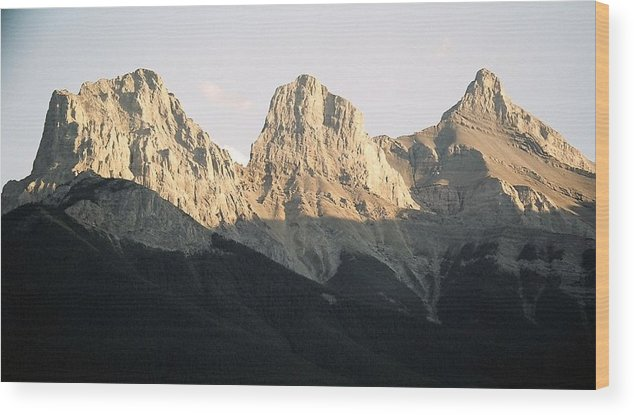Rocky Mountains Wood Print featuring the photograph The Three Sisters of the Rockies by Tiffany Vest
