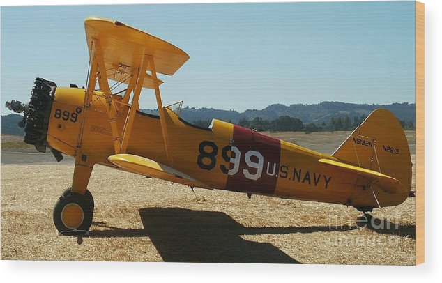 Diane Berry Wood Print featuring the painting US Navy biplane by Diane E Berry