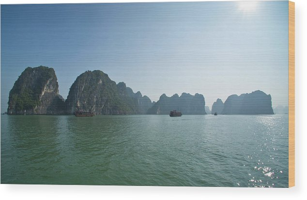 Scenics Wood Print featuring the photograph Ha Long Bay by By Thomas Gasienica