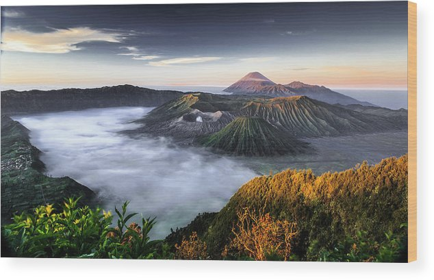 Scenics Wood Print featuring the photograph Indonesia Mount Bromo by Frederic Huber Photography