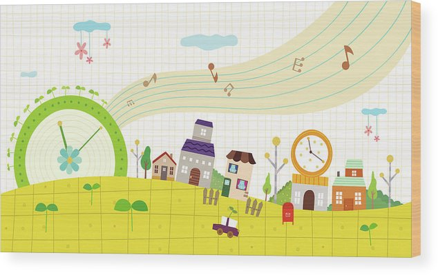 Clock Tower Wood Print featuring the digital art View Of Town by Eastnine Inc.