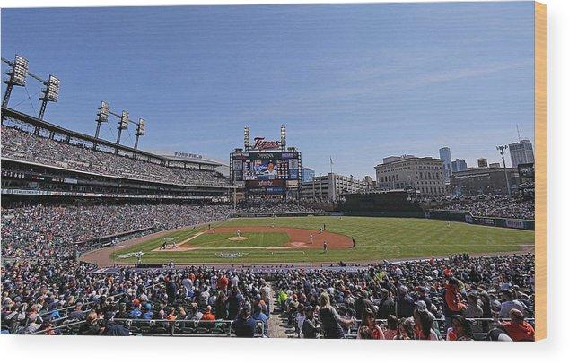 American League Baseball Wood Print featuring the photograph Kansas City Royals V Detroit Tigers by Leon Halip
