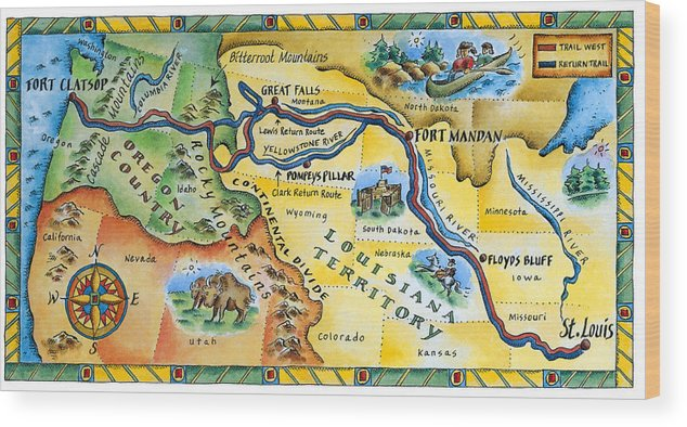 Watercolor Painting Wood Print featuring the digital art Lewis & Clark Expedition Map by Jennifer Thermes