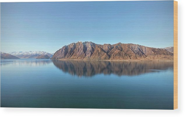 Scenics Wood Print featuring the photograph Mountain Reflected On Lake Hawea by Verity E. Milligan