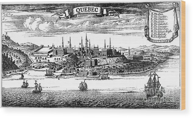 Engraving Wood Print featuring the drawing Old View Of Quebec, 1730 C1880 by Print Collector