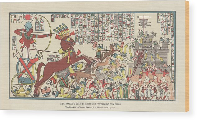 Horse Wood Print featuring the digital art Siege Of Dapur By Ramesses II 1269 Bc by Zu 09