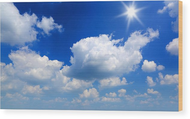 Scenics Wood Print featuring the photograph Sun And Clouds by Macroworld
