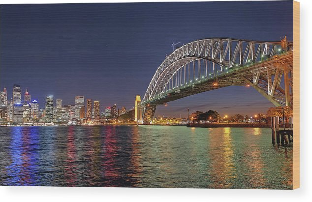 Built Structure Wood Print featuring the photograph Sydney Harbor Bridge At Night, Sydney by Marco Simoni