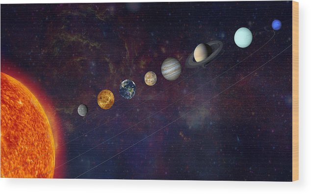 Astrophysics Wood Print featuring the photograph The Solar System In A Line by Alxpin