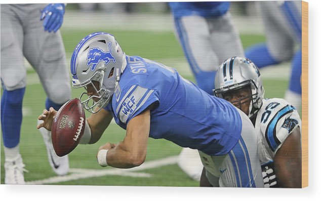People Wood Print featuring the photograph Carolina Panthers v Detroit Lions by Leon Halip