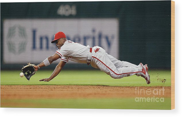 Sports Ball Wood Print featuring the photograph Brett Myers and Jimmy Rollins by Bob Levey