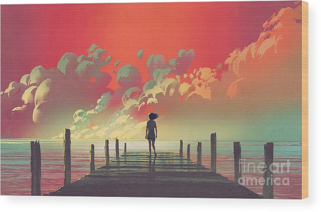Illustration Wood Print featuring the painting My Dream Place by Tithi Luadthong