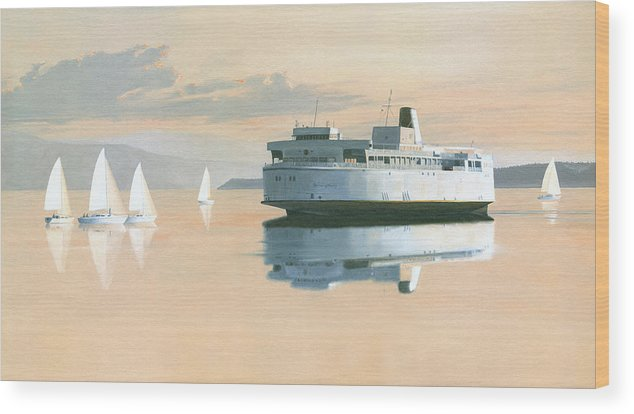 Bc Ferries Wood Print featuring the painting Right of way The Queen of Burnaby by Gary Giacomelli