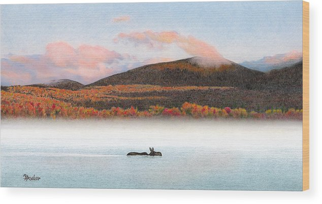 Moose Wood Print featuring the drawing Silver Lake Crossing by Brent Ander