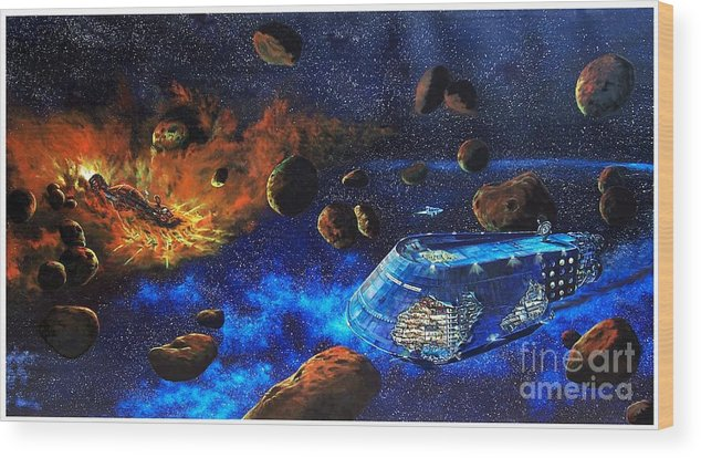 Future Wood Print featuring the painting Spaceship Titanic by Murphy Elliott