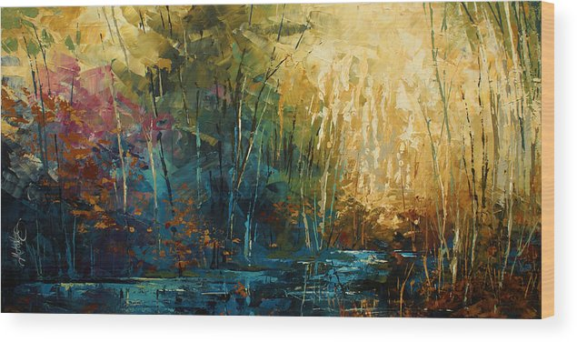 Landscape Wood Print featuring the painting ' Blue Lagoon ' by Michael Lang