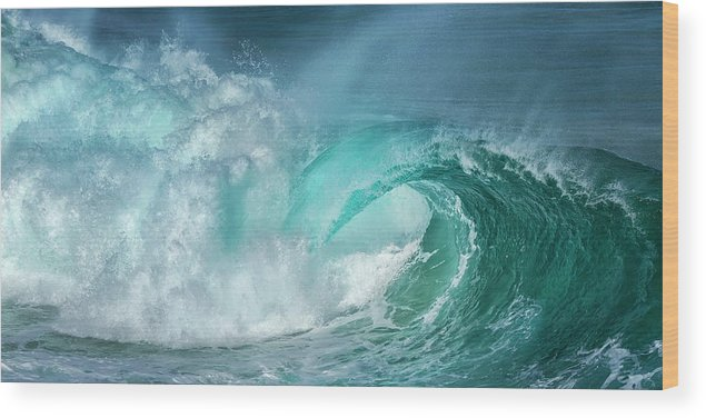 Panoramic Wood Print featuring the photograph Barrel In The Surf by Simon Phelps Photography