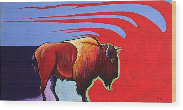 Bison Wood Print featuring the painting Bison in the Winds of Change by Joe Triano