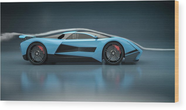 Aerodynamic Wood Print featuring the photograph Blue Sports Car In A Wind Tunnel by Mevans