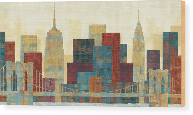 Blue Wood Print featuring the painting Majestic City by Michael Mullan