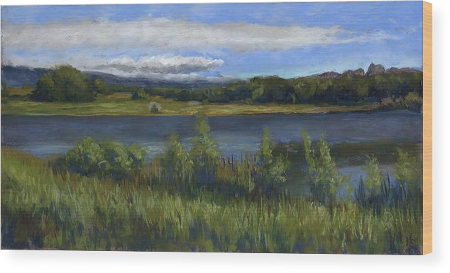 Morey Wildlife Reserve Wood Print featuring the painting Morey Wildlife Park by Billie Colson