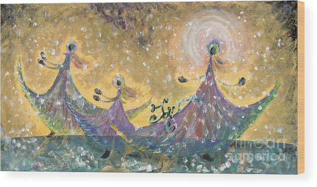 Joy Wood Print featuring the painting Snow Joy by Nadine Rippelmeyer