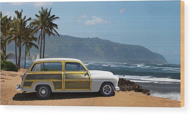 Haleiwa Wood Print featuring the photograph Vintage Woody On Hawaiian Beach by Ed Freeman