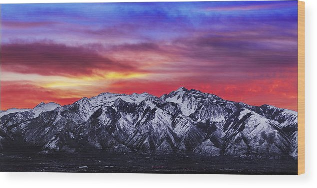 Sky Wood Print featuring the photograph Wasatch Sunrise 2x1 by Chad Dutson