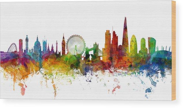 London Wood Print featuring the digital art London England Skyline Panoramic by Michael Tompsett