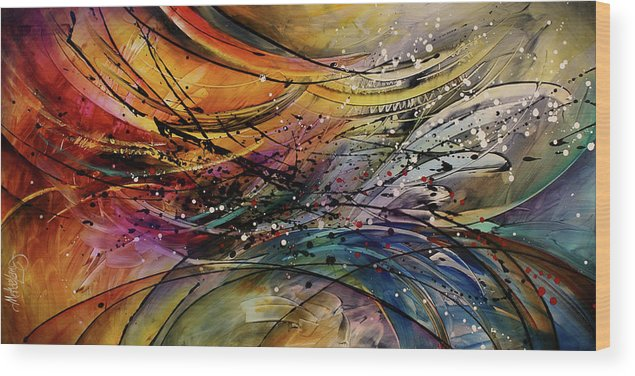 Abstract Art Wood Print featuring the painting Abstract by Michael Lang